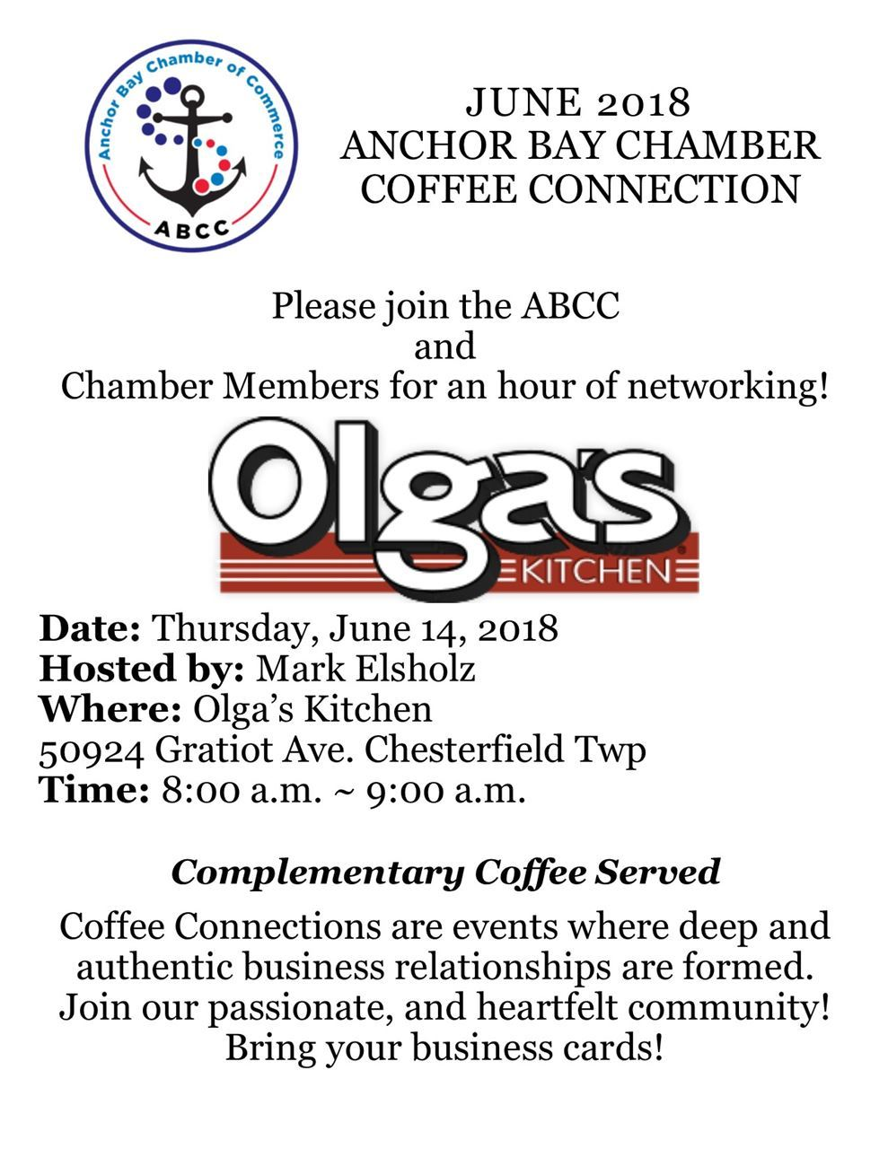 Anchor Bay Chamber of Commerce - June 2018 Coffee Connection